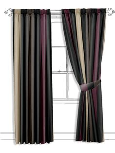 dark and moody coloured stripes here will help create a fabulously atmospheric space. The black stripes are intermingled with stripes in aubergine, dark brown and frosted brown. Black Stripes, Dark Brown, Pattern Design, Floral Design, Fancy, Curtains, Patterns, Living Room, Space
