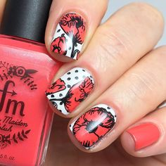 These poppies-inspired nails look so vintage yet sassy! Check them out! @ladyandthe_stamp from Instagram used our MM78XL plate for this! ________________________________________________ ladyandthe_stampI did a little mix and match here. I first stamped the dots from @messymansion Symetrika 08 over a white base, then reverse stamped a couple of different poppy images from MM78XL. My dots didn't seem to stamp very cleanly for some reason, must have been me, as everything else on these plates…
