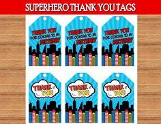 SUPERHERO Party- COMIC Hero Party- Superhero Birthday- THANK YOU TAGS - Hero