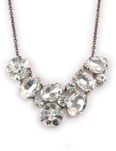 Large Crystal Stone Bib Necklace