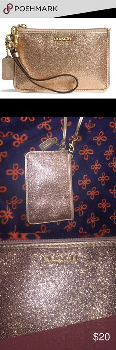 USED: Coach Wristlet - Sparkly Gold USED Coach Gold Glitter Metallic Wristlet  -2 credit card slots -fully lined -metal hardware -One small spot on front of wristlet where glitter has fallen off (see picture); otherwise excellent condition  -Would make make a great gift or be the perfect touch to an outfit -pet free and smoke free home  ***first picture is off the internet because the color of my home photos was funky. See last picture for spot showing wear on my wristlet. Coach Bags…