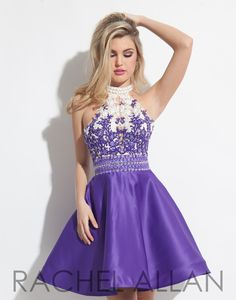 So Pretty! This cute homecoming dress features a purple matte satin skirt with side pockets and a lace bodice with racer back and it's at Rsvp Prom and Pageant, Atlanta, GA!