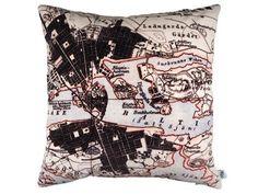 Handmade Velvet Stockholm Map Print Cushion from maxandrosie.co.uk