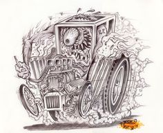 Johnny Ace Original Art Rat FINK Monster Hot Rod Big Daddy Roth! KUSTOM Drag #JohnnyAceandRothStudios