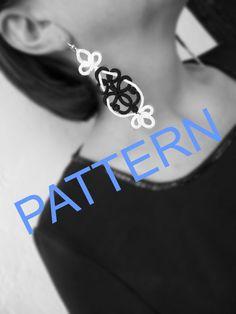 "Tatting pattern -Tatting earrings ""Black and White ""- handmade jewelry - lace earrings - shuttle tatting -  PDF pattern"