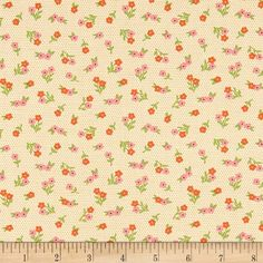 Moda Sugar Pie Posies Yellow from @fabricdotcom  Designed by Lella Boutique for Moda, this cotton print fabric features a subtle polka dot background with small flowers for a spring feel. Perfect for quilting, apparel and home decor accents. Colors include white, orange, red, pink, green and charcoal.