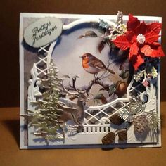 Ornate Frame Die with Bird Christmas Card Fall Cards, Winter Cards, Xmas Cards, Homemade Christmas Cards, Christmas Tag, Christmas Crafts, Card Making Inspiration, Making Ideas, Yule