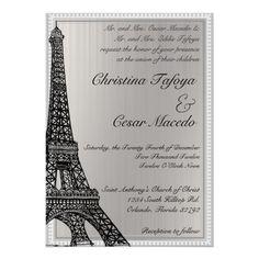 5 X 7 Wedding Invitation Black Eiffel Tower