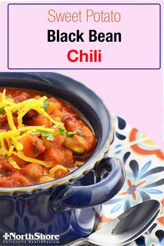 Warm up on a winter evening with vegetarian chili. Black beans and sweet potatoes will ensure that this dish is hearty and filling for the whole family.