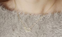 Honeycomb Necklace, Brass Necklace, Korean Jewelry, Korean Fashion, Girls Gift, Everyday Jewelry, Cute Neckalce
