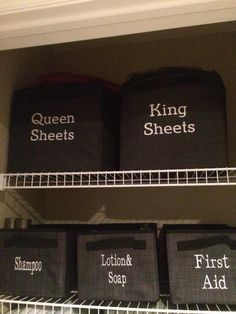 How to store your sheets in your linen closet. Rather than the pictured 31 containers, I'll just reuse some IKEA containers and tie on labels