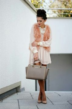 This is a lovely unexpected monochromatic  combination. I would add a pair of taupe satin stiletto pants to this.