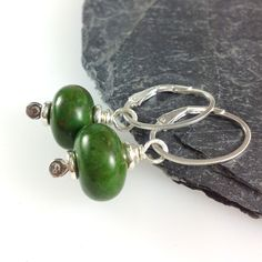 Turquoise sterling silver earrings - Earthy green turquoise £20.00