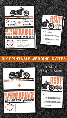 Printable Biker Invitation  #MotorcyleInvite #DIYInvitation #PrintableMotorcyleInvite  #HarleyDavidson