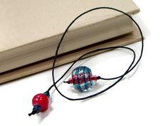 Book Thong Bookmark Aqua Blue Dark Pink Book String by TJBdesigns, $4.00