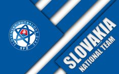 Download wallpapers Slovakia national football team, 4k, emblem, material design, blue white abstraction, Slovak Football Association, SFZ, logo, football, Slovakia, coat of arms