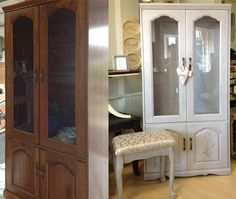 Jennifer just finished this old cabinet in Evening Sky and antiqued it with the dark wax. She added raised embellishments on the cabinet doors and on the inside, by applying a thin coat of the Texture Paste through a stencil.