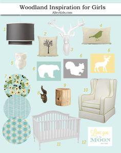 Nursery design board - Woodland nursery inspiration for girls. Aqua, gray and yellow.  #nursery #designboard #inspiration