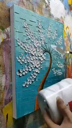 Canvas Painting Tutorials, Diy Painting, Knife Painting, Creative Painting Ideas, Painting Techniques Canvas, 3 Canvas Paintings, Canvas Painting Projects, Dandelion Painting, Simple Oil Painting