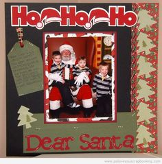 This Christmas Scrapbook Layout features a great title, die cut Christmas trees, Christmas Scrapbook Paper, and three adorable little boys.