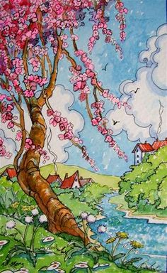 """""""Cherry Tree Spring Storybook Cottage Series""""   by  Alida Akers"""