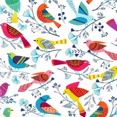 Michael Miller Flock Birds White Fabric  This gorgeous Michael MillerFlock fabric is afun,vibrant pattern and we love it that much we sell it inNavy as well! Description from ebay.co.uk. I searched for this on bing.com/images