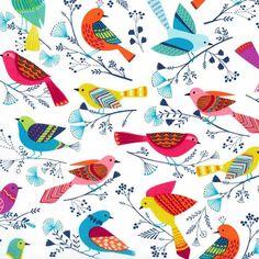 Michael Miller Fabric Flock Birds in White