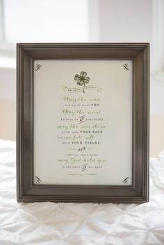Irish Blessing Sign for Bridal Shower