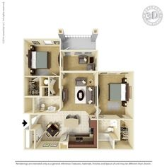 2 Bedroom 1155 Square Feet B1-SB-2 Ooltewah, TN Integra Preserve Floor Plans   Apartments in Ooltewah, TN - Floor Plans