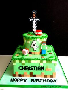 Minecraft All details made of sugarpaste Minecraft Cake Toppers, Minecraft Cookies, Minecraft Birthday Cake, Pokemon Birthday, Mine Craft Party, Mindcraft Cakes, Pastel Minecraft, Fondant Cake Designs, Cakes For Boys
