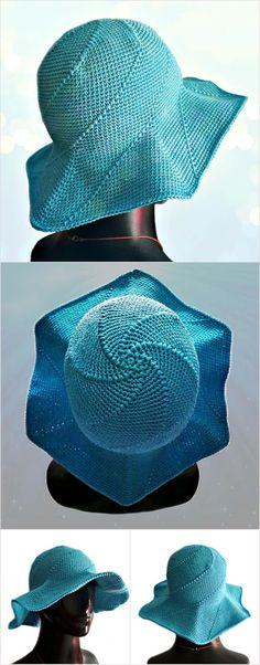 Crochet Hexagon Swirly Sun Hat