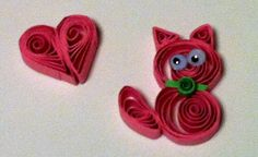 quilling kitten and heart