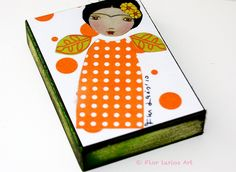 Frida Mujer- Woman - ACEO Giclee print mounted on Wood by FLOR LARIOS