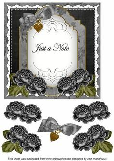 Black Rose Just a Note Fancy 7in Decoupage Topper on Craftsuprint - Add To Basket!