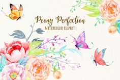 Posted by @newkoko2020 Watercolor Clipart Peony Perfection by Corner Croft on @creativemarket