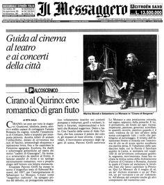 26 gennaio 2001 - Il Messagero - Rita Sala su Cirano di Bergerac di Rostand, regia di Peppino Patroni Griffi con Sebastiano Lo Monaco, Marina Biondi