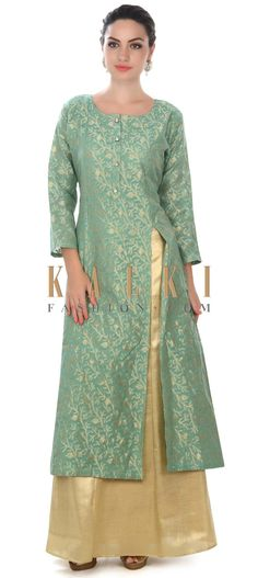 Buy this Mud green A line suit adorn in fancy button only on Kalki Pakistani Dresses, Indian Dresses, Indian Outfits, Kurta Designs Women, Blouse Designs, Indian Attire, Indian Wear, Suits For Women, Clothes For Women