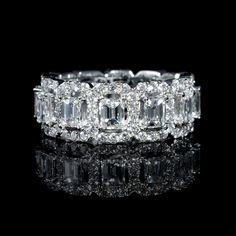 4.00ct Diamond Emerald and Round Brilliant Cut 18k White Gold Eternity Wedding Band Ring
