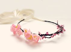 Cherry Blossoms Floral Halo Wedding Floral Crown by rosesandlemons
