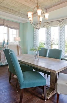 Dining room with weathered wood ceiling. Love this table... Love love love the ceiling.