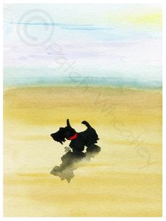 Seascape, Scottie Dog, Print, Printed on Fine quality print from an original watercolour painting. Printed with UltraChrome K3 pigment ink. 8 X 6
