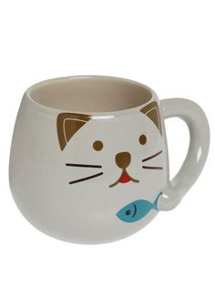 Fanciful Feast Mug. No matter what beverage you drink from this mug, the kitty printed on it will always be happy with its fish feast.  #modcloth