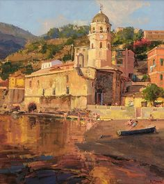 Kathryn Stats (American) ~ Vernazza, 25x22.5 in. http://www.kathrynstats.com/