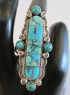 MELVIN-FRANCIS-NAVAJO-STERLING-SILVER-TURQUOISE-NATIVE-AMERICAN-RING-SIZE-8-25