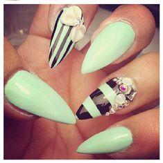 Mint Chip Stripe Nails= dope nail design ideas= nail swag obsession= nail porn