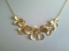Dangling Triple Orchids necklace - handmade jewelry by La La Crystal