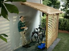 Protection against wind and weather. | Bicycle storage | Take a day to do yourself and your bikes a favour with this bikeport. The costs for the bikeport are approx. £320.The following construction guide applies to solid spruce wood. Simply have the required posts, joists and roof boards (see material list) cut to size at the DIY store or by your carpenter. If you use other materials or material with a different thickness, adapt the parts list accordingly.You will find a detailed material…