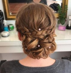 long hair prom chignon updo