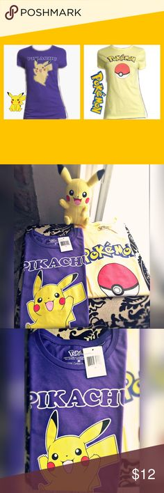 NWT Bundle of 2 Pokémon graphic T-Shirts size M NWT Bundle of 2 Pokémon/Pikachu graphic T-Shirts for Juniors, Size M. Yellow and Purple T-Shirts 100% cotton. Pokemon Tops Tees - Short Sleeve