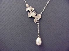 Silver Triple Orchids Teardrop Pearl Lariat by ACutieChick on Etsy, $28.00